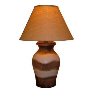 1950s Vintage Raymor German Mid Century Modern Fat Lava Drip Glaze Table Lamp For Sale