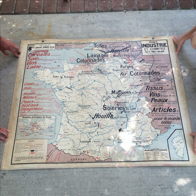 Red 1950s French Two-Sided School Map of France For Sale - Image 8 of 11
