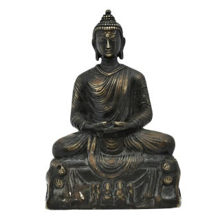 Early 20th Century Vintage Brass Buddha Statue For Sale