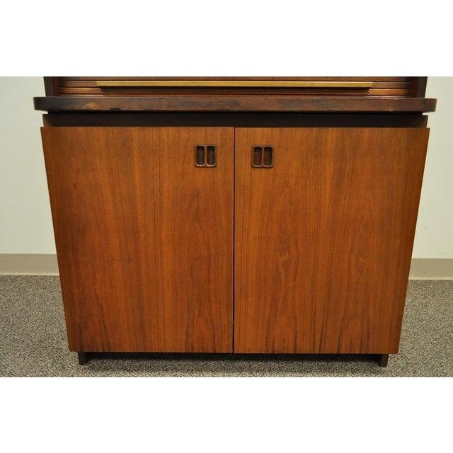 Teak 1960's Danish Style Teak Tambour Roll Top Secretary Desk For Sale - Image 7 of 13
