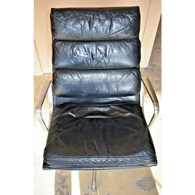 Leather Mid Century Eames Herman Miller Lounge Chairs Black Leather- A Pair For Sale - Image 7 of 13