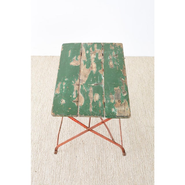 French Folding Iron Garden or Bistro Style Dining Table For Sale - Image 9 of 13