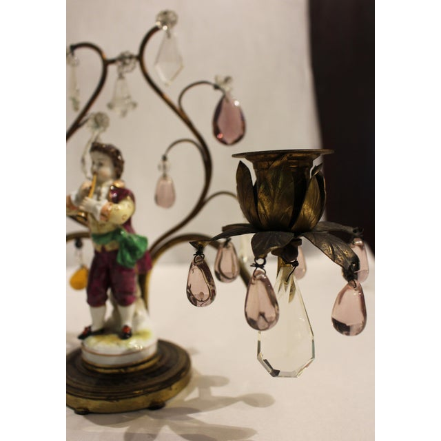Late 19th Century Gilt Bronze Porcelain Figurine Candelabras - a Pair For Sale - Image 5 of 11