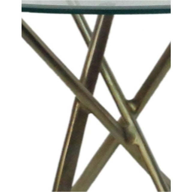 Round Glass Top & Gold Stained Aluminum Side Table - Image 4 of 4