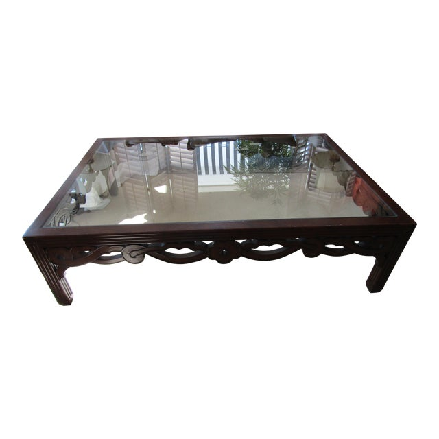 Transitional Glass Top Wood Cocktail Table - Image 1 of 4