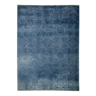 "Blue Over-Dyed Hand-Knotted Wool Rug - 5'2"" X 6'10"""
