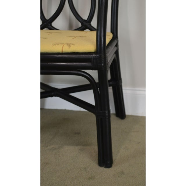McGuire Style Set 8 Black Rattan Bamboo Dining Chairs For Sale - Image 11 of 13