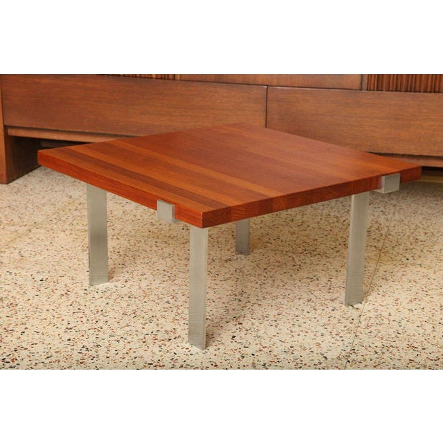 Great scale and presence with this Danish solid staved teak table designed by Illum Wikkelsø for A. Mikael Laursen....