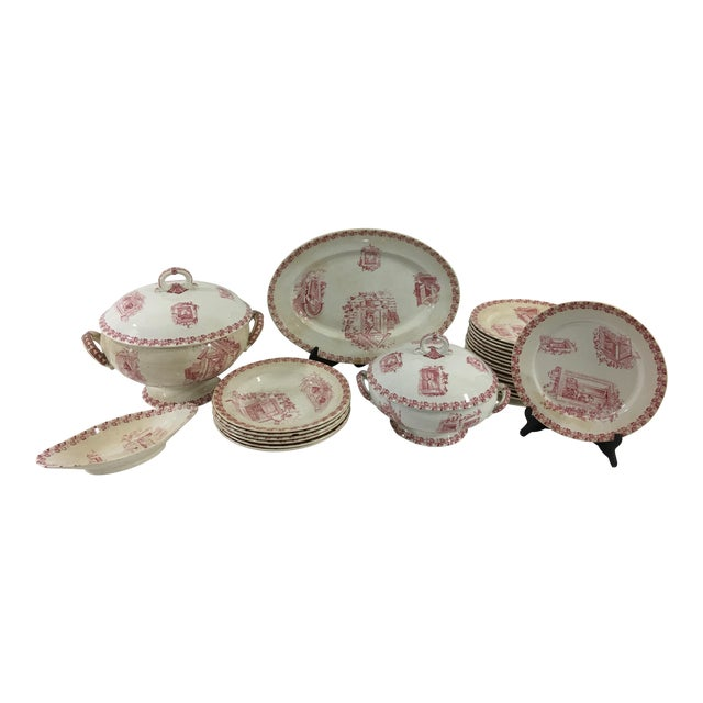 Red and White Digoin & Sarreguemines Faience Dinner Set - Set of 26 For Sale