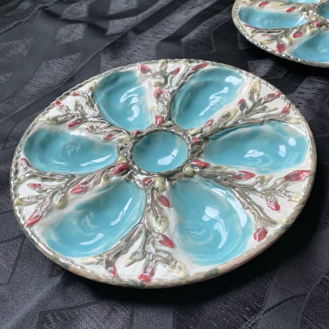 Ceramic Late 19th Century S. Fielding English Majolica Oyster Plates - Pair For Sale - Image 7 of 9
