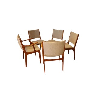 Five Mid Century Teak Dining Chairs For Sale
