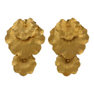 Les Bernard Articulated Leaf Earrings For Sale