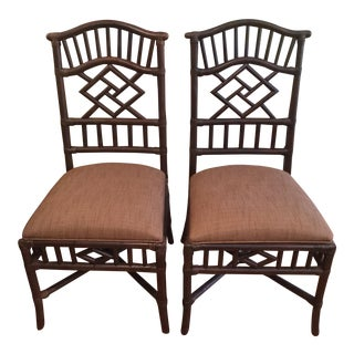 Lexington Furniture Rattan/Bamboo Chinese-Style Chairs - a Pair For Sale