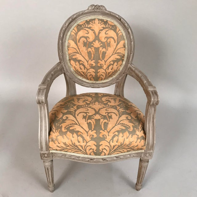 Circa 1940 French Painted Louis XVI Style Child's or Doll's Armchair Attributed to Maison Jansen. The appealing timeless...