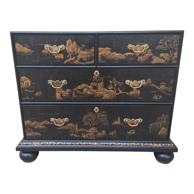 Vintage Baker Chinoiserie Gold and Black Lacquer Chest of Drawers For Sale