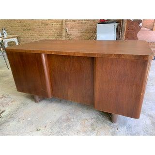 1960s Vintage Stowe & Davis Art Deco Inspired Mid Century Modern Progressive Series Hardwood Desk Preview
