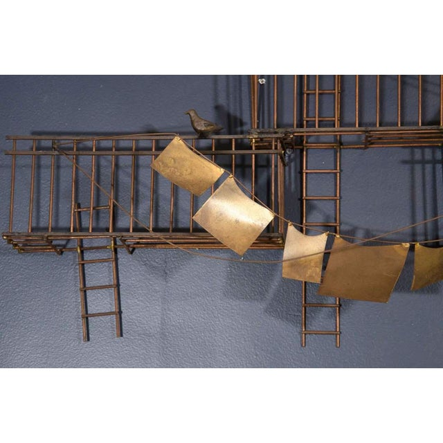 Curtis Jere AMAZING MONUMENTAL CURTIS JERE NEW YORK CITY FIRE ESCAPE SCENE WALL SCULPTURE For Sale - Image 4 of 6