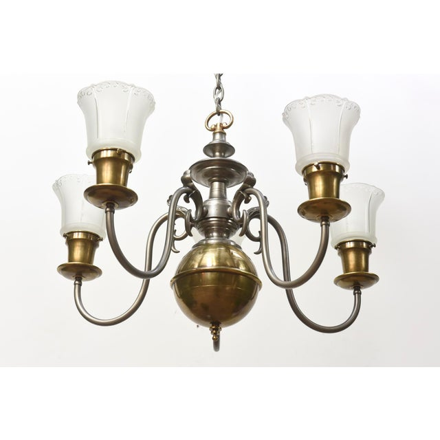 Five Light Pewter and Brass Colonial Revival Chandelier For Sale - Image 9 of 12