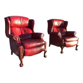 Bradington Young Reclining Napoleon III Style Wingback Library Armchair in Patent Burgundy Leather For Sale