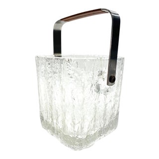 Mid-Century Modern Ice Bucket With Textured Ice Glass, Japan C. 1960's For Sale