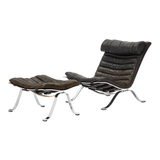 Arne Norell Ari Chair and Footstool, Norell Mobel, Sweden, 1970s For Sale