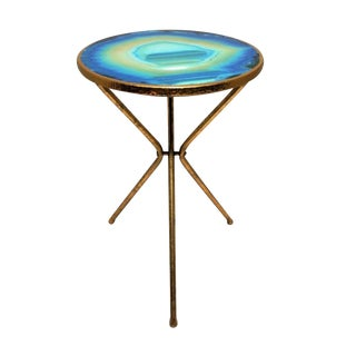 Contemporary Gold Gilt Side Table With Agate Design For Sale