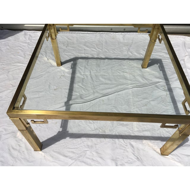 Hollywood Regency Mastercraft Italian Brass Coffee Table For Sale - Image 3 of 12
