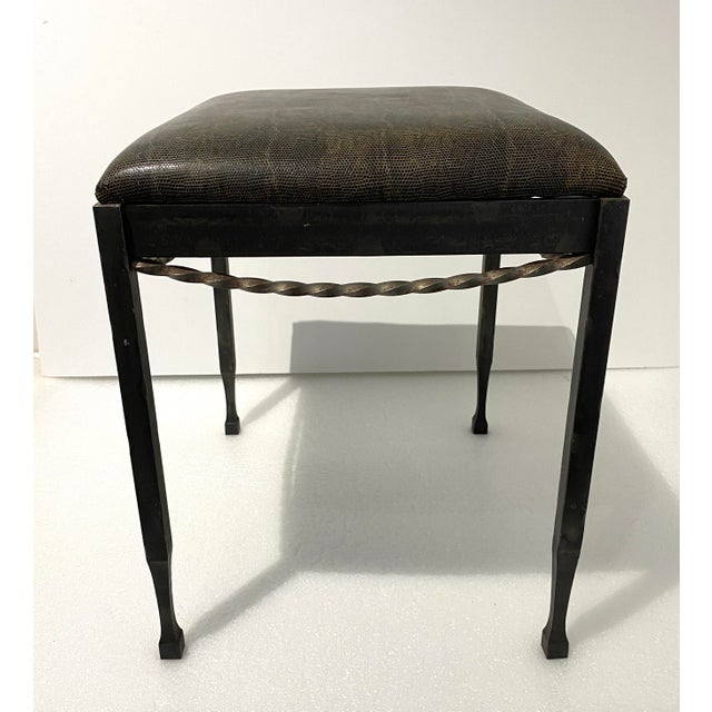 Vintage Artisan Wrought Iron Stool Faux Lizard Top from a Palm Beach estate This artisan hand-wrought iron stool/bench is...
