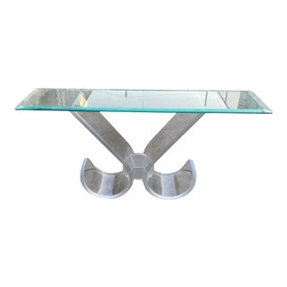 Vintage Curved Lucite Entryway Console Table For Sale