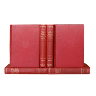 1914 Rudyard Kipling Set of 6 Red Gilt Edged Books For Sale