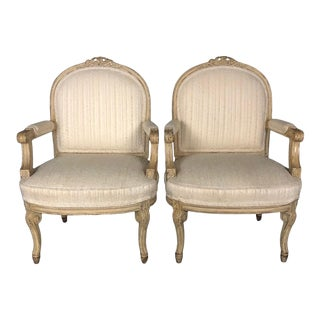 Louis XIV Neoclassical Style Cream Painted French Bergere Armchairs -A Pair For Sale