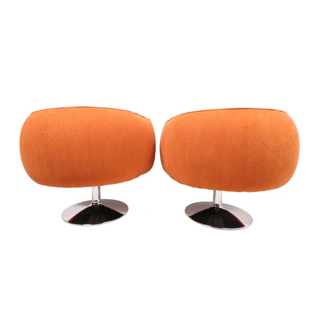Mid-Century Modern Vintage Swiveling Lounge Chair Pair - Milo Baughman, Adrian Pearsall Style - Original Vintage Design With Newer Fabric - Earthy Orange For Sale - Image 3 of 11