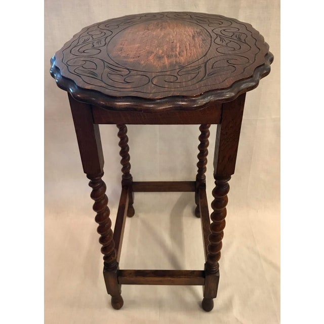 Early 20th Century Antique English Oak Side Table For Sale - Image 4 of 10