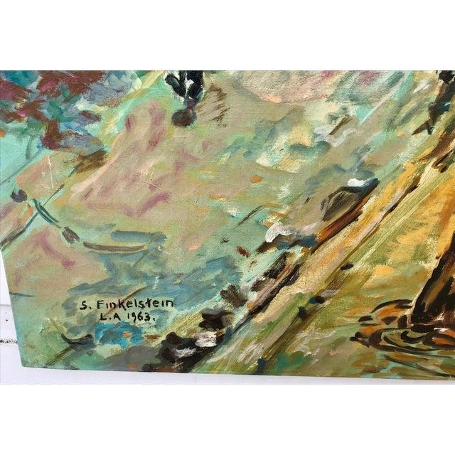 Green 1960s Vintage Bridge, Street, Seine River - France Oil Painting For Sale - Image 8 of 9