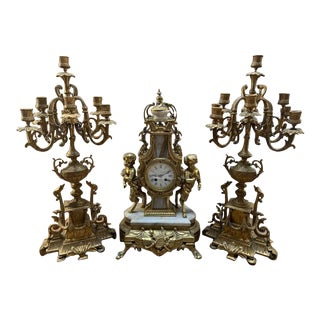 Antique Brass Ornate Mantle Clock and Candelabras - 3 Pieces For Sale