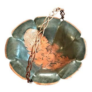 1940s Asian Antique Copper Chrysanthemum Pattern Bowl