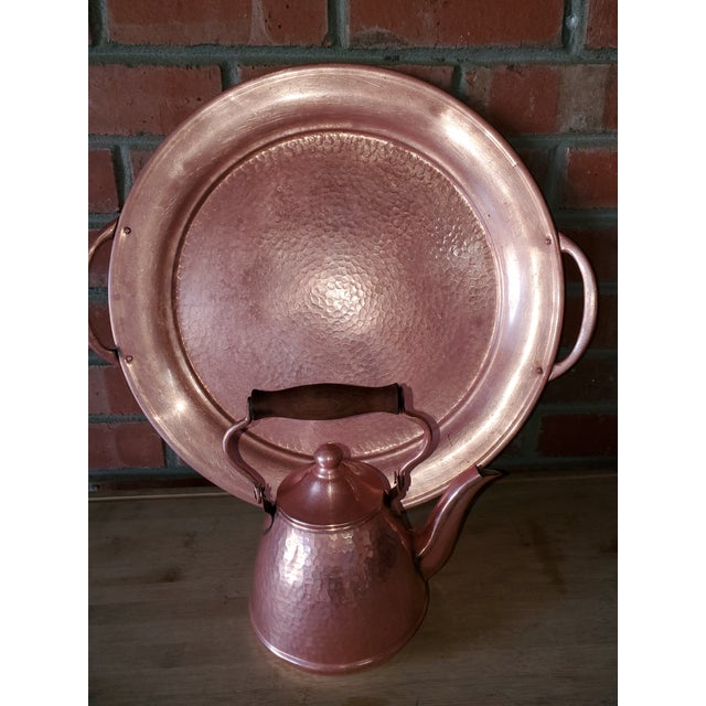 Vintage Rustic Mexican Hammered Copper and Brass Coffee Serving Set For Sale In San Francisco - Image 6 of 13