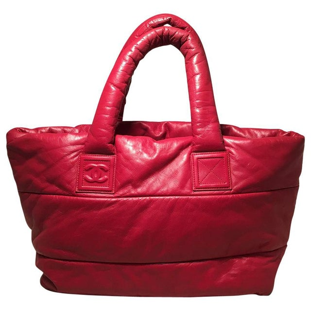 4f4b9792a7b4 Blue Chanel Red and Navy Puffy Leather Cocoon Tote Bag For Sale - Image 8 of