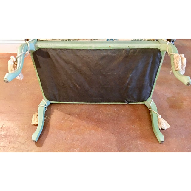 **Final Price** Antique Green French Provincial Carved Wood Small Bench Settee For Sale - Image 10 of 11