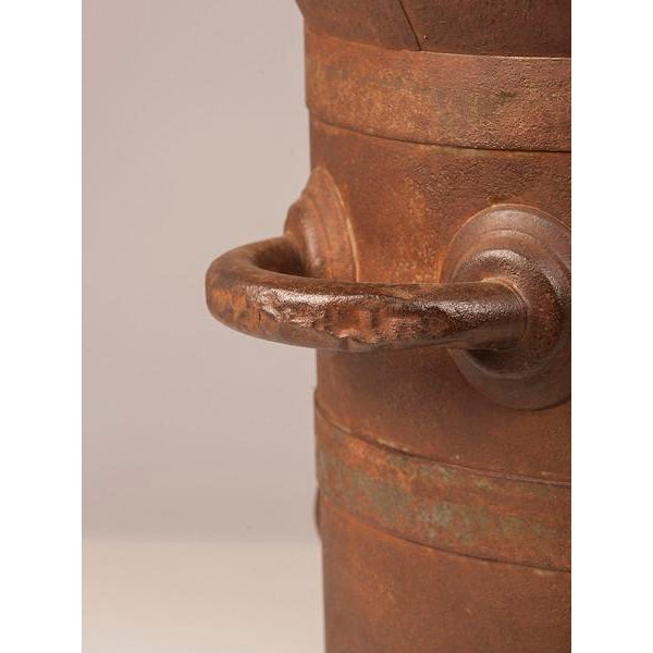Red 19th Century Enormous French Iron Wine Jug with Raised Handles For Sale - Image 8 of 11