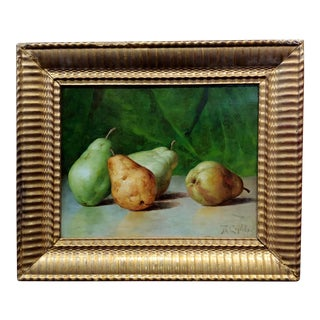 Theodore Coquelin,1880s Still Life of Pears-French Impressionist Oil Painting For Sale