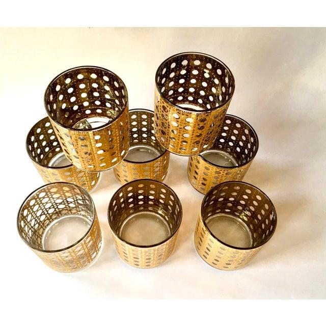 Hollywood Regency Gold Gilt Cane Patterned Motif Cocktail Glasses - Set of 8 For Sale - Image 3 of 7