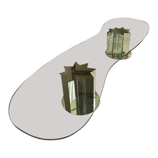 Modernist Serpentine Mirrored Star Base Glass Top Coffee Table After Karl Springer For Sale