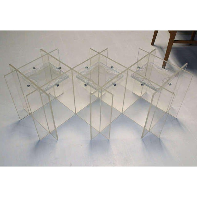 Glass Mid-Century Modern Lucite & Glass Coffee Table For Sale - Image 7 of 10