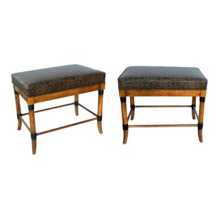 1960s American Ash Faux Bamboo Rectangular Stools - a Pair For Sale