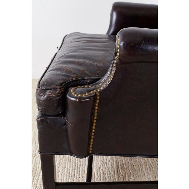 Black English Georgian Style Black Leather Wingback Armchair For Sale - Image 8 of 13