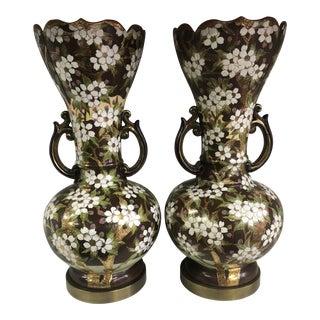 Antique Floral Lamps - A Pair For Sale