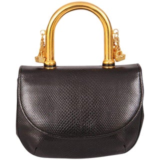 Judith Leiber Charming Black Karung Bag With Gold Charm Handle For Sale