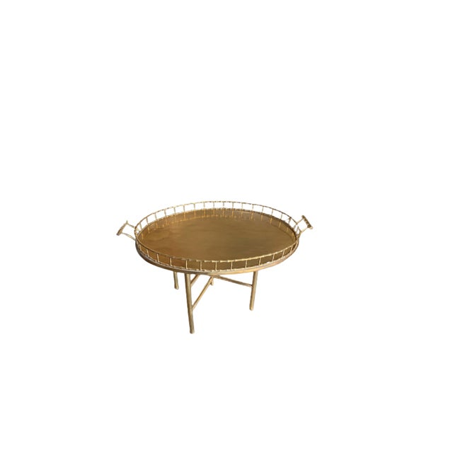 Metal Antique Brass Tray With Stand For Sale - Image 7 of 7