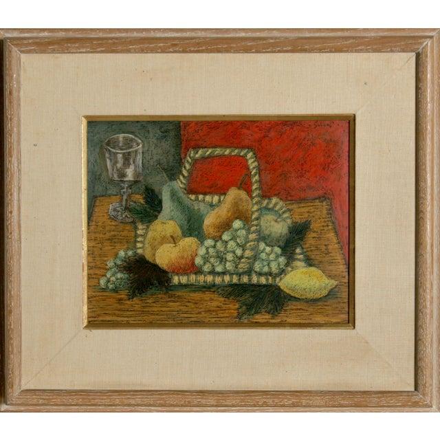 Laurent Marcel Salinas, Nature Morte Au Fond Rouge, Oil on Masonite For Sale